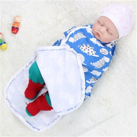 Zipper Turtles Printed Cotton 1-Piece Blue Baby Sleeping Bag