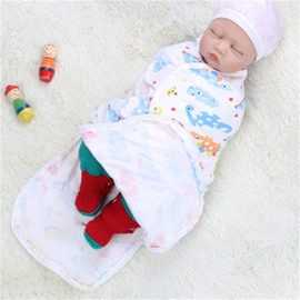 Zipper Turtles Printed Cotton 1-Piece White Baby Sleeping Bag