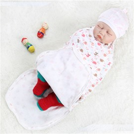 Zipper Cartoon Animals Printed Cotton 1-Piece White Baby Sleeping Bag