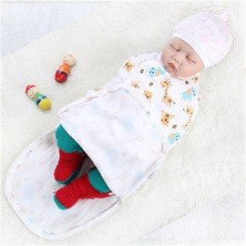 Zipper Giraffes Printed Cotton 1-Piece White Baby Sleeping Bag