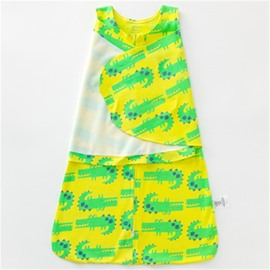 Green Crocodiles Printed Cotton 1-Piece Yellow Baby Sleeping Bag