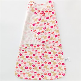 Flowers Printed Cotton 1-Piece White Baby Sleeping Bag
