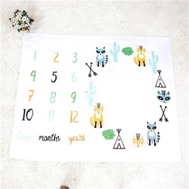 Calendar and Cartoons Printed Cotton Nordic Style White Baby Blanket