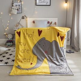 Elephant Printed Polyester Nordic Style Yellow Baby Blanket