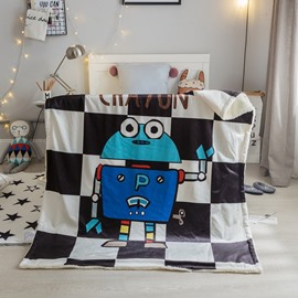 Robot Printed Grid Polyester Nordic Style Baby Blanket