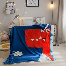 Red Dinosaur Printed Polyester Dark Blue Baby Blanket