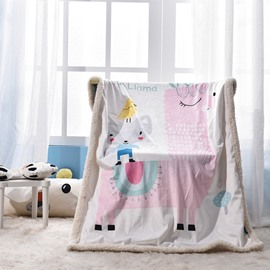 Cartoon Animals Printed Polyester Nordic Style White Baby Blanket