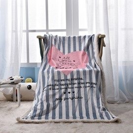 Pink Heart Shape Printed Stripes Polyester Nordic Style Baby Blanket
