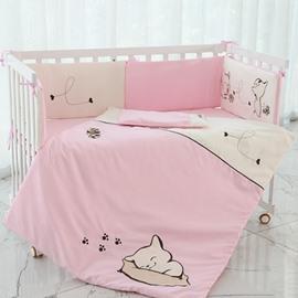 Cute Cartoon Dog Pattern 7-Piece Cotton Baby Crib Bedding Set