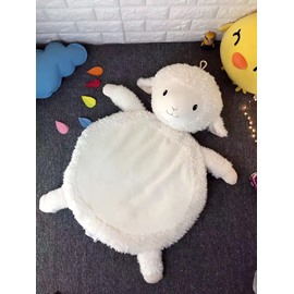21.7*37.4in Sheep Shape Coral Velvet Fabric Home Decoration Baby Rug