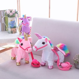Funny Unicorn Soft and Breathable Singing And Walking Plush Baby Toy