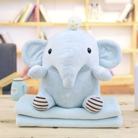 Blue Cute Creative Elephant Soft and Breathable Plush Baby Toy And Blanket