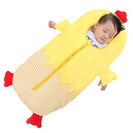 2 Color Cute Chicken Shape Anti-Kicking Velvet Yellow Baby Sleeping Bag