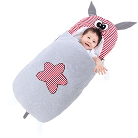 Cute Cartoon Rhinoceros Shape Anti-Kicking Velvet Baby Sleeping Bag