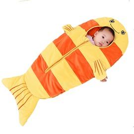 Orange Small Fish Pattern Anti-Kicking Velvet Baby Sleeping Bag