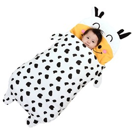 Cute Cow Shape Anti-Kicking Velvet Baby Sleeping Bag