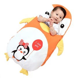 Orange Cute Penguin Shape Anti-Kicking Velvet Baby Sleeping Bag