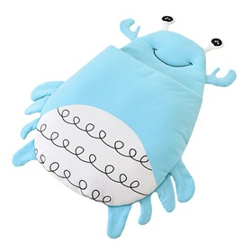 Cute Crab Shape Anti-Kicking Velvet Blue Baby Sleeping Bag