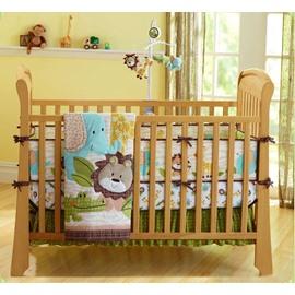 Lion and Crocodile Animal Printed 4-Piece Baby Nursery Crib Bedding Set