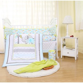 Elephant and Tree Printed 5-Piece Crib Bedding Sets