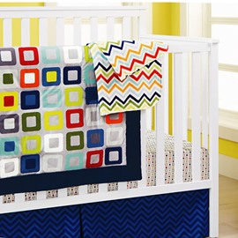 Geometric and Square Printed 7-Piece Baby Nursery Crib Bedding Set