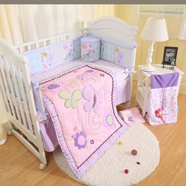 Purple Butterfly Printed 6-Piece Baby Nursery Crib Bedding Set