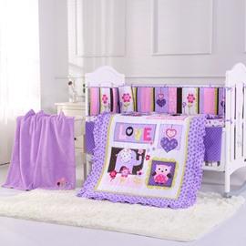 Flower and Elephant Animal Printed Purple 5-Piece Crib Bedding Sets
