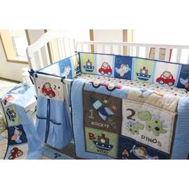 Cartoon Animal Printed 6-Piece Baby Nursery Crib Bedding Sets