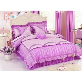 Romantic Purple Lace 4-Piece Cinderella Duvet Cover Sets