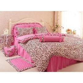 Leopard Print Cotton Princess Style Pink 4-Piece Duvet Covers/Bedding Sets
