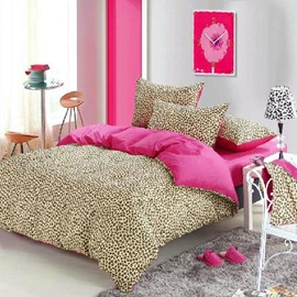 Leopard Style 4 Piece Cotton Bedding Sets/Duvet Cover Sets