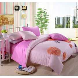New Arrival Lovely Pink Color Flower Applique Design 6 Piece Bedding Sets