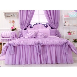 Cinderella Purple Bowknot Lace Edging 4-Piece Princess Duvet Cover Sets
