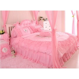 Cinderella Style Lovely Flowers Plus Lace 4-Piece Cotton Duvet Cover/Bedding Sets