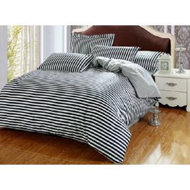 Comfortable Dark Blue and White 4-Piece Staple Cotton Duvet Cover Sets