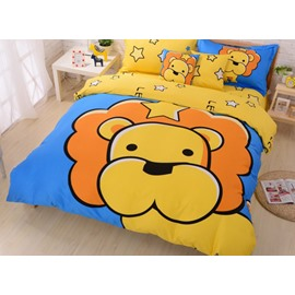 Yellow Cartoon Lion Print 4-Piece Cotton Duvet Cover Sets