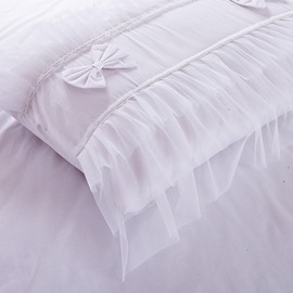 Bowknot Cotton and Lace Princess 4-Piece White Duvet Covers/Bedding Sets
