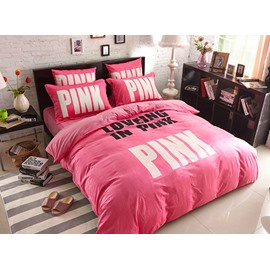 Pink Letters Print Velvet Princess 4-Piece Duvet Covers/Bedding Sets