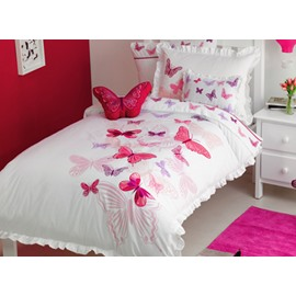 Embroidered Butterflies Printed 3-Piece Cotton Pink Duvet Covers/Bedding Sets