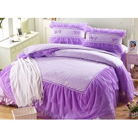 Hot Selling Purple Lace Pattern 4-Piece Cotton Cinderella Duvet Cover Sets