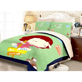 Little Girl Sitting on a Guide-Board Print 3-Piece Polyester Duvet Cover Sets