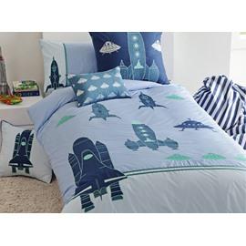 Cartoon Rocket Applique 3-Piece Cotton Duvet Cover Sets