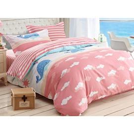 Blue Whale Print 3-Piece Cotton Duvet Cover Sets