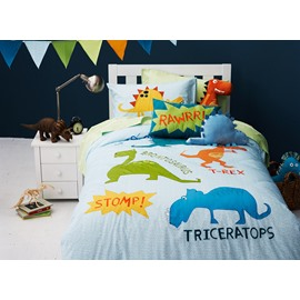 Dinosaur World 3-Piece Cotton Kids Duvet Cover Sets