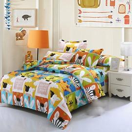 Super Cute Animals 4-Piece Cotton Kids Duvet Cover Sets