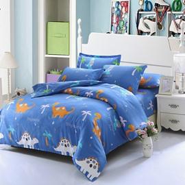 Adorable Dinosaurs 4-Piece Cotton Kids Duvet Cover Sets