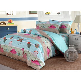 Dinosaur Pattern Cotton 4-Piece Twin Size Blue Duvet Covers/Bedding Sets