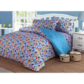 Bright Colorful Birds Pattern Cotton 4-Piece Duvet Cover Sets