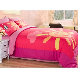 Pink Sun Pattern Kids 4-Piece Duvet Cover Sets