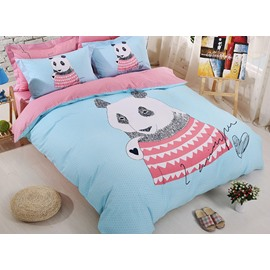 Wonderful Panda Print Cotton Kids 4-Piece Duvet Cover Set